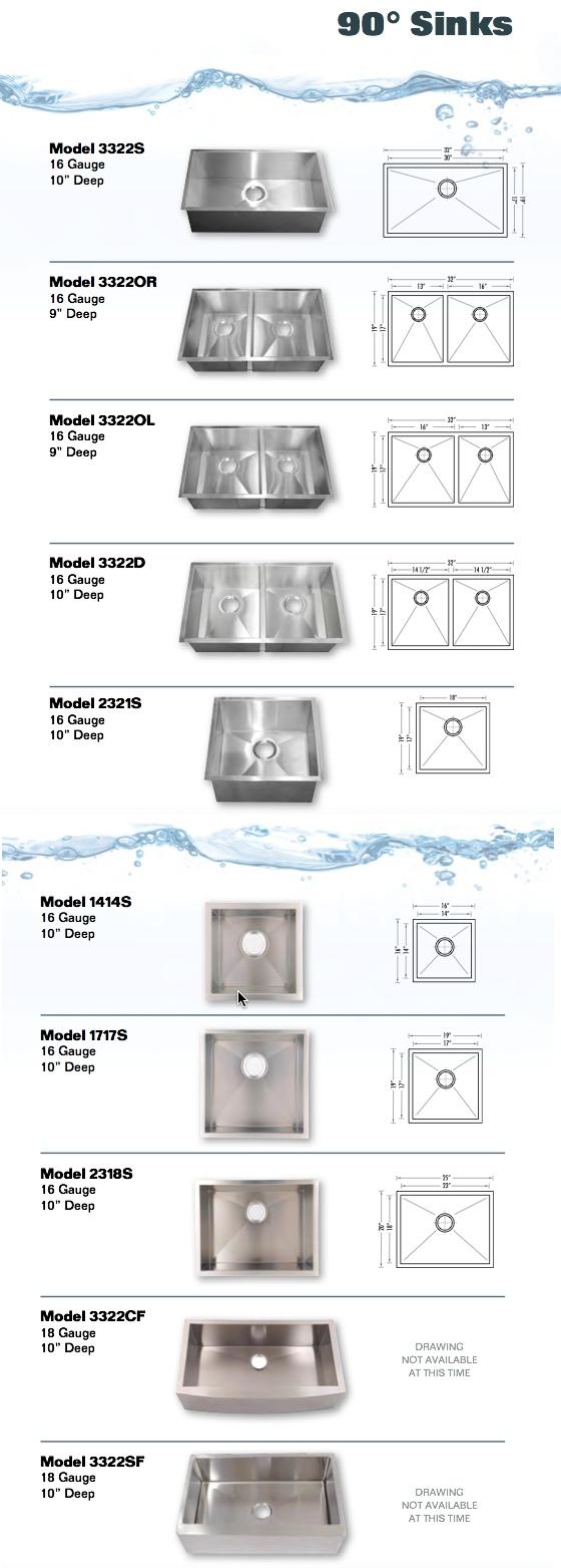 90 Degree Stainles Steel Sinks
